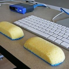 Sponges can be ergonomic keyboard things. | 31 Cheap And Brilliant Dollar Store Hacks