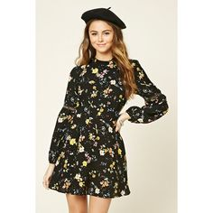 Forever 21 Women's  Floral Print Mock Neck Dress ($23) ❤ liked on Polyvore featuring dresses, flower design dresses, mock neck dress, forever 21, flower pattern dress and flower printed dress