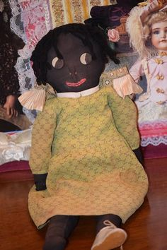 Old Doll Cloth Rag Doll Black with Unusual Button Eyes Sewn Features Molded Nose - Old Doll Cloth Rag Doll Black with Unusual Button Eyes Sewn Features Molded Nose