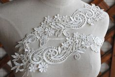 Venice Lace Appliques Ivory Floral Embroidered Patches For Wedding Supplies Bridal Hair Flower Headpiece 1 Pair