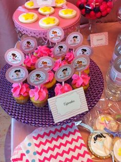 Cupcakes and cookies at a Gymnastics Birthday Party!  See more party ideas at CatchMyParty.com!