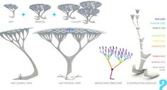 "The TREEPODS themselves will be made entirely of recycled/recyclable plastic from drink bottles. Based not only on trees, but on the human lung, the design of the ""branches"" will feature multiple contact points that serve as tiny CO2 filters. The proposed design, giant white and translucent canopies of trees, can be installed among existing trees or on their own."