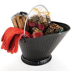 Fireplace/fire starter gift basket. Nice holiday gift for couple. Also a great housewarming gift!