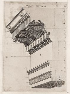 Cornice detail, cut away view. Architecture Classique, Architecture Antique, Classic Architecture, Architecture Drawings, Historical Architecture, Architecture Details, Interior Architecture, Etiquette Vintage, Detailed Drawings
