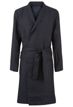 Blue silk and linen night robe with shawl collar and polka dot jacquard detailing. High-quality fabric with a soft and warm texture. Luxury Nightwear, Luxury Lingerie, Men's Robes, Dress Codes, Suit Jacket, Menswear, Stylish, Coat, How To Wear