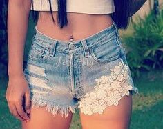 Lace shorts Levi high waisted denim shorts Hipster by Jeansonly Lace Jeans, White Lace Shorts, Denim And Lace, Sexy Jeans, Short Jeans, Lace Jean Shorts, Hipster Outfits, Tumblr Outfits, Diy Shorts