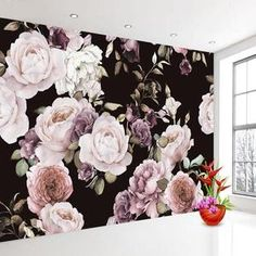 White Rose Peony Floral Wall Mural