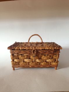 Vintage Wicker Sewing Box  Made in Germany by OneDecember on Etsy, 28.00
