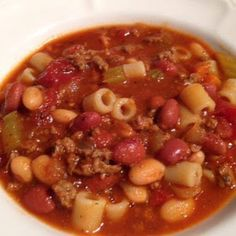 Pasta Fagioli Crockpot Version.  Substitute ground turkey for a healthier version.