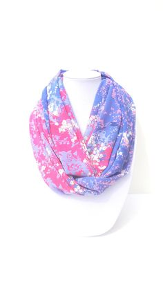 Purple Infinity Scarf Floral Scarf Pink & by FashionelleStudio