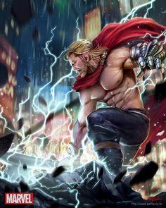 Marvel War of Heroes - Thor, HyunJoon Kim on ArtStation at https://www.artstation.com/artwork/6d4Jr