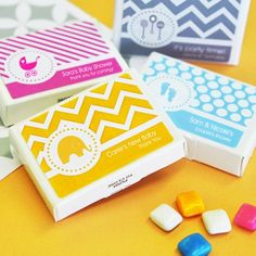 Tons of baby shower prize ideas - Including Personalized Baby Shower Gum Favors