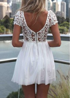 Fine Quality Round Neck Cap Sleeve White Dress