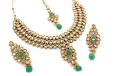 Indian Bollywood Asian Antique Gold Necklace Tikka Earring Jewellery Set Jewelry