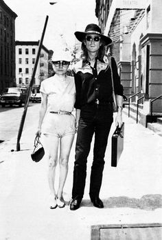 "beatlesneveroutofstyle:   On this day in 1980, John and Yoko are photographed in New York City making their way to the ""Hit Factory"" to begin recording ""Double Fantasy"" (August 7th 1980)"