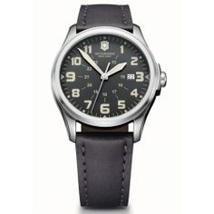 Victorinox Mens Black Dial Leather Strap Infantry Vintage Watch 241580.  This Mens Victorinox watch has a stainless steel case which is set around a black dial with luminescent hands and index, and date window. It features anti-reflection sapphire crystal, end of time indicator, and screw-in caseback. A leather strap completes the look. Water resistant to 100M.