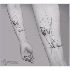 arm tattoo geometric cat