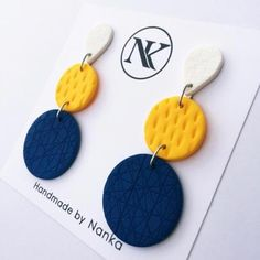 Handmade Polymer Clay Earrings - Minimalist Collection Lightweight earrings made of polymer clay material. All metal parts are made of stainless steel. Please note that the pair you receive may have slight variations from the one in the photo - espec . Polymer Clay Creations, Polymer Clay Crafts, Handmade Polymer Clay, Polymer Clay Jewelry, Diy Clay Earrings, Earrings Handmade, Handmade Jewelry, Beaded Jewelry, Silver Earrings