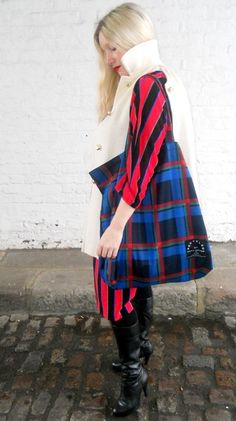 Sadie Brown with our recycled tartan tote bag