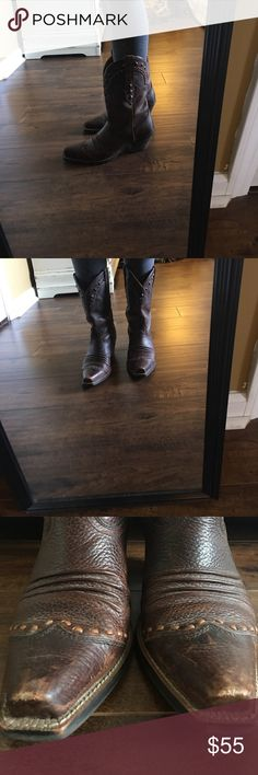 Ariat boots Good used condition. Really great condition other than some scuffing on front points and on one side as seen. Super cute. I lost weight and my feet shrunk a bit, lol. Smoke free and pet free home. Ariat Shoes Heeled Boots