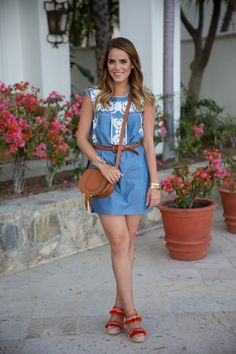 Gal Meets Glam looking lovely in a Tory Burch Embroidered Dress.