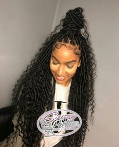 I have some beautiful clients! Shes wearing medium size goddess locs extended length with using synthetic hair. PRICING LOCATED IN BIO! Faux Locs Hairstyles, Braided Hairstyles For Black Women, Baddie Hairstyles, African Braids Hairstyles, My Hairstyle, Protective Hairstyles, Protective Styles, Hairstyle Ideas, Black Hairstyle