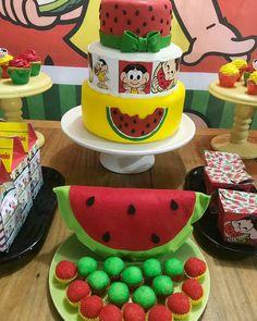 Festa da Magali: 50 ideias lindas, passo a passo e muita melancia Fiesta Party, Watermelon, Fruit, Cake, Desserts, Food, Maria Alice, Kenya, Parties