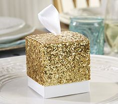 Gold Glitter Favor Box | Glam