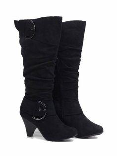 Max Footwear Stylist Black Pink Low Wedge Heel Midcalf Buckle Winter Boots