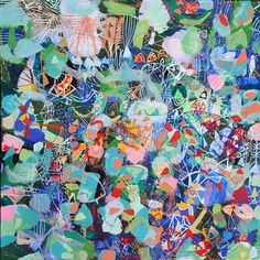 Large Original modern flower painting garden by SarahGiannobile