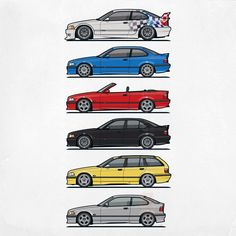 BMW E36 Variants – Featuring #M3 Coupe, Sedan, GTR, Touring, and Convertible in titan silver, dakar yellow, cosmic black, imola red, estoril blue and alpine white #AutomotiveArt by Monkey Crisis On Mars | Pixels.com