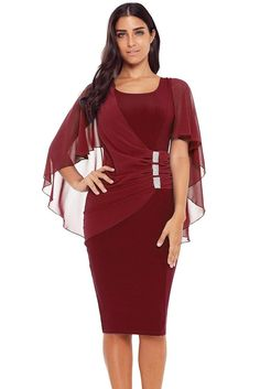 2f01e4e7770 Burgundy Rhinestone Detail Ruched Formal Midi Party Dress. Half Sleeve  DressesMidi ...