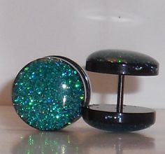 Emerald Green Glitter Fake Plugs on Etsy, $10.95