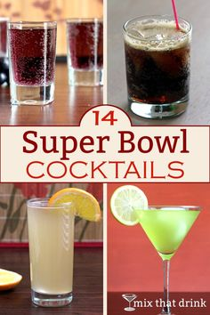 The best Super Bowl cocktails for your party are the ones that are fun, tasty and easy to serve in a pitcher. This makes it easy for the host to mingle with the guests instead of bartending the whole time. Cocktails For Parties, Party Drinks, Fun Drinks, Alcoholic Drinks, Beverages, Parties Food, Super Bowl Party, Cocktail Mix, Cocktail Drinks