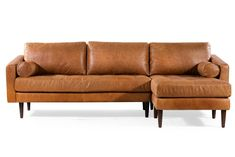 Modern Napa Right Sectional Leather Sofa in Cognac Tan in Madagascar Cocoa Modern Sectional, Sectional Sofas, Tufted Sofa, Sofa Bed, Mid Century Modern Sofa, Fabric Sofa, My Living Room, Living Area, Midnight Blue
