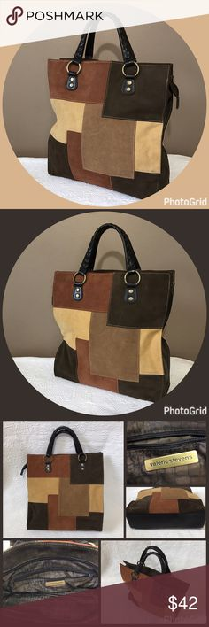 """Valerie Stevens Suede Patchwork Handbag Tote Excellent used condition! Shades of brown suede Patchwork with brown leather trim. Zip closure. Interior has Print lining with 1 zip pocket, 2 slip pockets and 3 card slots. Used maybe twice. Braided straps with a drop of approximately 4.5"""". Valerie Stevens Bags Totes"""