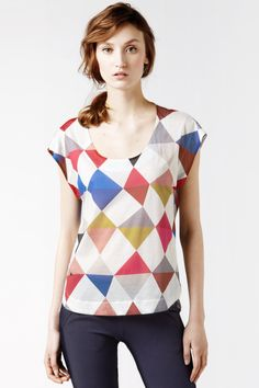 Lacoste Short Sleeve Scoopneck Argyle Printed T-shirt : Tops & Tees