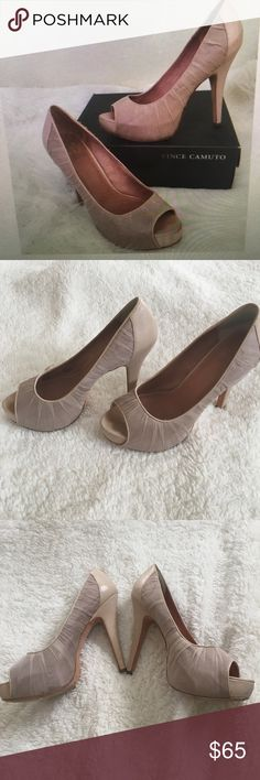 VInce Camuto platform heels Beautiful Vince Cumato chiffon and leather platform heel.  These are exquisite heels perfect for the Spring weather!!  the color is a gorgeous blush.  Excellent condition worn only once Vince Camuto Shoes Heels