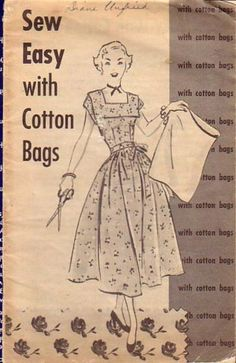 "Booklet ""Sew Easy with Cotton Bags"" from article ""Recycling Feedsacks into Fashion"" in The Vintage Traveler. Vintage Quilts, Vintage Fabrics, Vintage Sewing Patterns, Make Do And Mend, Embroidery On Clothes, Recycling, Feed Sacks, Simple Bags, Cotton Bag"