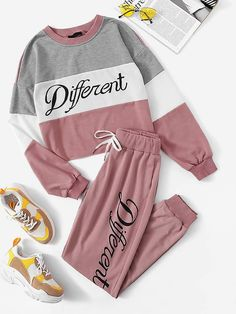 To find out about the Colorblock Letter Print Pullover & Pants Set at SHEIN, part of our latest Two-piece Outfits ready to shop online today! Cute Lazy Outfits, Sporty Outfits, Swag Outfits, Stylish Outfits, Cool Outfits, Girls Fashion Clothes, Teen Fashion Outfits, Outfits For Teens, Fashion Sets