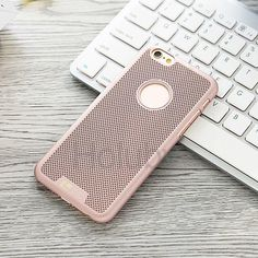 Loopee Mesh Pattern Hard PC Back Case for iPhone 6 6S - Rose Gold