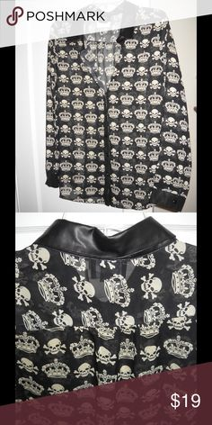 BLACKFRIDAYSALE 15.00 NWT Skull &Crown blouse NWT,  never worn Skull and crown blouse with faux leather collar. Looks fab with black cami underneath. Makes a stunning statement to be sure! Like new. We! Tops Blouses