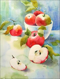 Watercolor Apples by Maria Stezhko