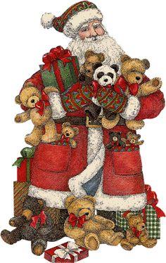 CHRISTMAS SANTA AND TEDDY BEARS CLIP ART