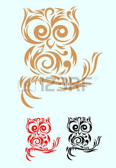 Owl Bird art tribal, vector file and easy to use