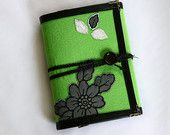 Refillable  Journal /  Diary / 2015 Agenda/ Wedding Guest Book / Green Felt / Black Flower Adorned / Ring Binder / Refillable