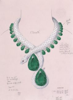 Cartier celebrated its 150th anniversary with exceptional Fine Jewelry creations including a necklace in the form of a serpent, paved with diamonds and set with two pear-cut emeralds of 205 and 206 carats.