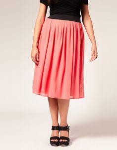 ASOS CURVE Chiffon Midi Skirt, $55.40