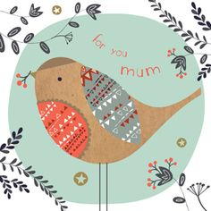 Birdie Lovely with Doodled Vines and Flowers