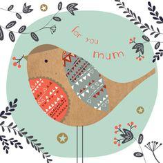 мятный, оранжевый, мама, птица, иллюстрация, наив